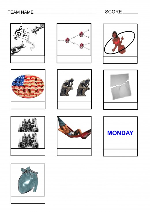 Picture quiz handouts for pubs