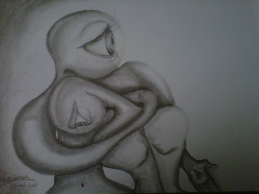 Comfort. Automatic Drawing. 8.3x5.8 inches. Graphite on 125g