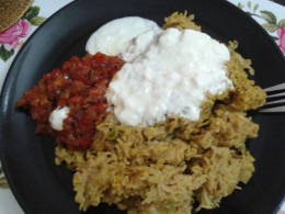 Tomato chutney with pulao and curd makes a perfect weekend lunch.