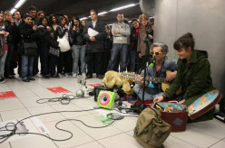 Things to see in Milan in Italy : The buskers on the Metro