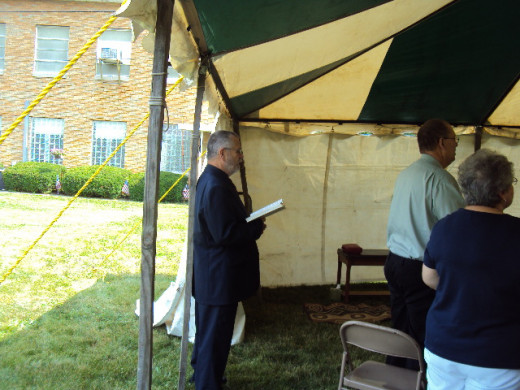 Preparing to preach in tent revival. Evangelist Dr. Terry VanBuskirk