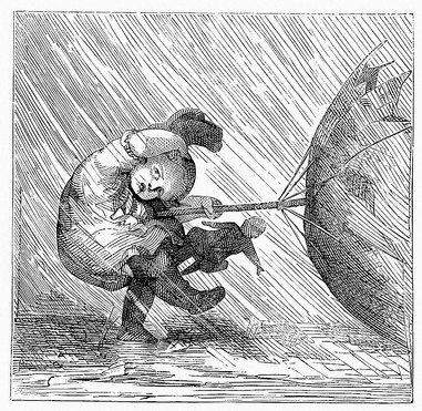 A little girl caught out in the rain has her umbrella turned inside out in a gust of wind. This little girl and her umbrella drawing is one of a series of copyright free images telling the tale of this naughty little girl sneaking out into the rain.