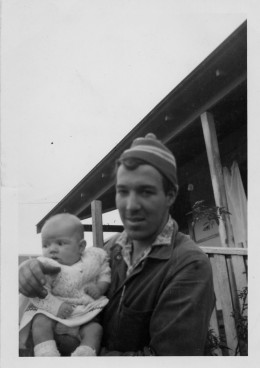With my daughter in 1966 outside our house in a small Victorian logging village. Click for full size pictures.