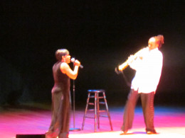 The very talented Sheila Song performs with Curtis Haywoodon sax.