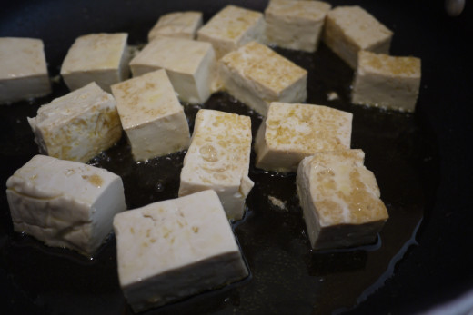 Tofu should be cooked until slightly browned.