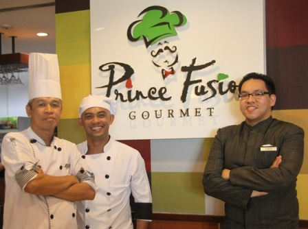 (from left to right)  CHEF MARLOU ALMASCO, CHEF ARNEL QUILESTINO & AARON QUE