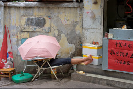 Man sleeping during business hours