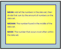 Learn to calcluate the averages by using mean, median, and mode.