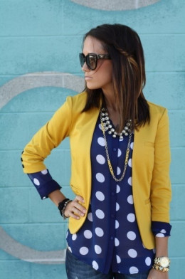 The mustard & navy work well together with the dots.