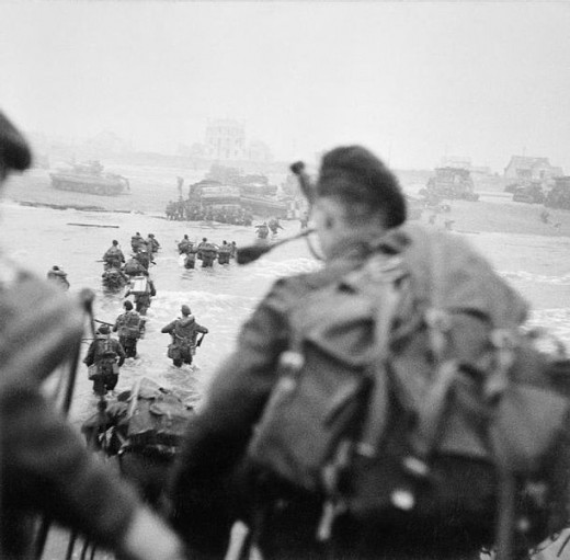 Lord Lovat landing on Sword Beach - Showing his personal Piper about to disembark into the surf.