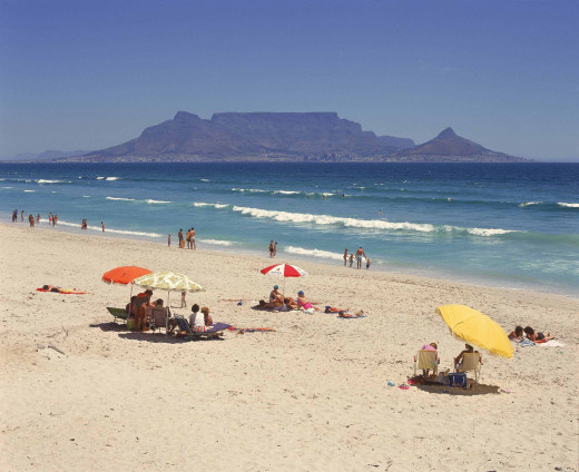 Beach with Table Mountain across the bay