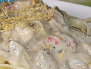 Cheese in Pinoy Seafood Carbonara - Special Filipino Recipe