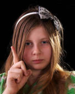 a child scolding someone else - following behaviors learned from  adults