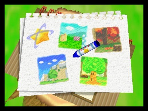 This is how you select stages in the game. That crayon is your pointer, and you are positive Kirby is the one holding it with his stubby little arms.