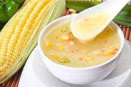 Sweet corn soup with dry fruits