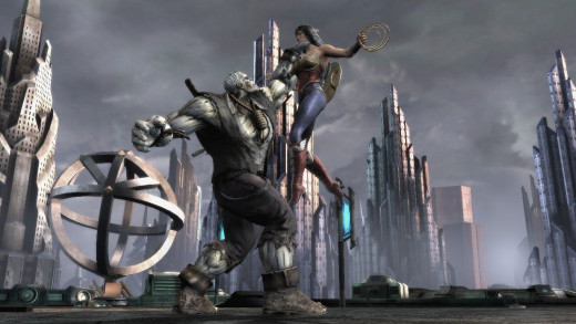Wonder Woman and Solomon Grundy battle at the ruins of Metropolis