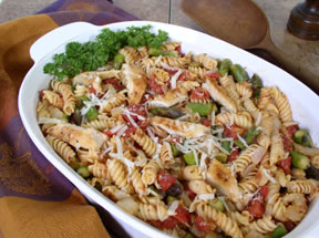 Delicious pasta salad using leftover chicken for Orange Walnut Chicken Recipe.