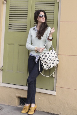 Polka dotted bags adds some fun.
