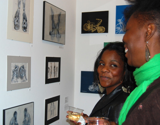 Art galleries usually provide wine and snacks for opening receptions. Photo featuring art by Corinna Nicole, courtesy of Tai Rockett.