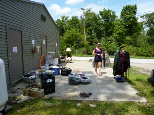 The beginning of a successful rummage sale. Not even fully set up yet.