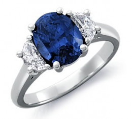 A sapphire engagement ring from Blue Nile. This sapphire is listed as having a medium to dark blue color with clarity that is eye-clean. This would be considered AA or better quality grade.