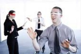 blindfolded business people - never question the ethics of those we work for