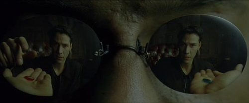 Neo taking the red pill to take the dangerous journey that reveals to him the truth hidden underneath this world of illusion.