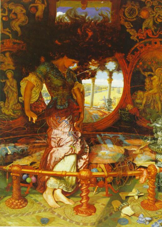 """The Lady of Shalott"" by William Holman Hunt based on the poem ""The Lady of Shalott"" by Lord Alfred Tennyson."