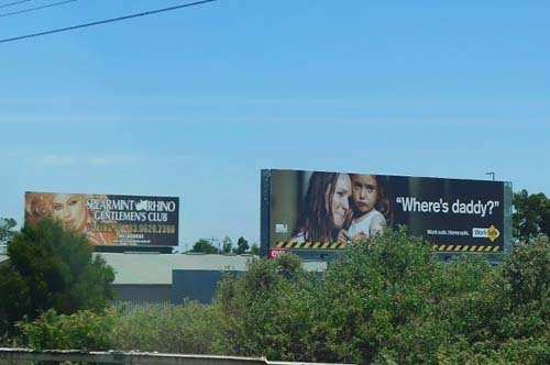 "An emotional street ad portraying child asking mother ""Where is Daddy?""  followed by a sexual gentlemen house ad giving an automatic answer to the girl´s question"