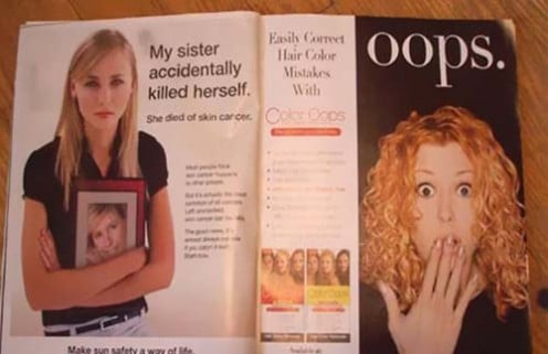 An emotional magazine article describing the story of an unfortunate suicide seems to be mocked by a hair remover ad on the next page.