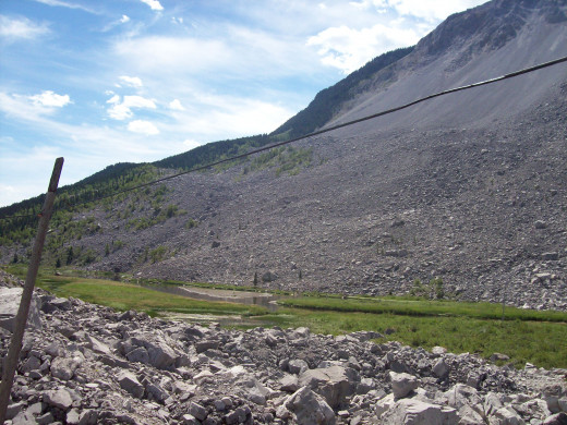 Biking Through the Frank Slide - South of Highway