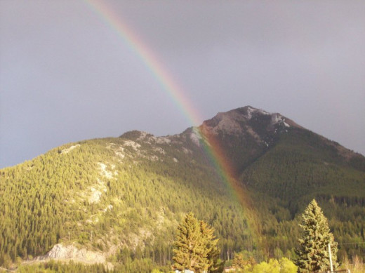 Rainbow - Backside of Turtle Mountain - from my yard.