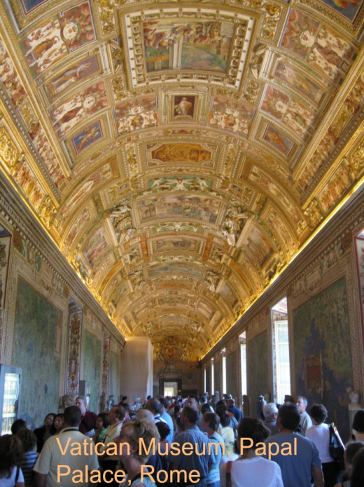 Heavily decorated museum display halls in the Papal palace, Vatican City, Rome.