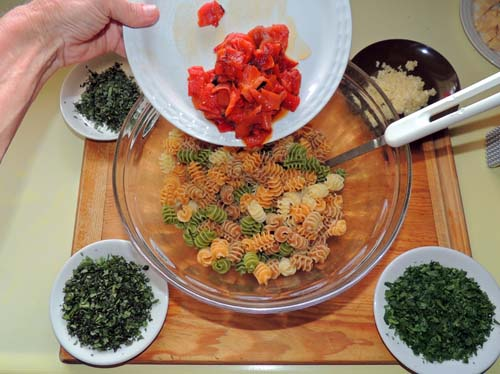 add peppers first--STIR AFTER EACH ADDITION