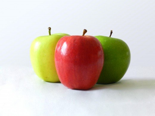 Red, green and golden apples