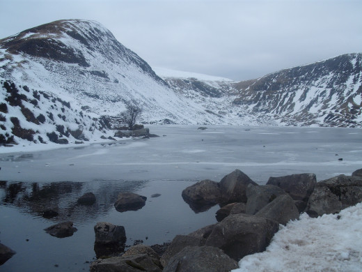 Loch Skeen in all it's beauty, the ice is currently covering the loch except a small rock filled area at the start.