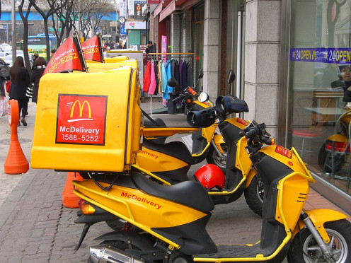 McDonald's delivery in South Korea at a 24-hour unit.