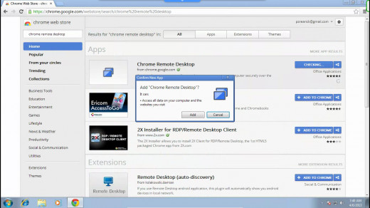 "The first result should be Chrome Remote Desktop. Click ""Add To Chrome"". On the window that pops up, Click ""Add""."