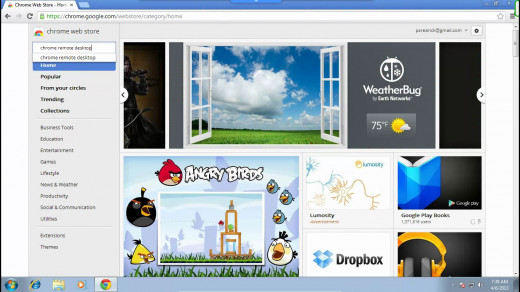 """When the webstore opens, enter """"chrome remote desktop"""" into the search bar."""