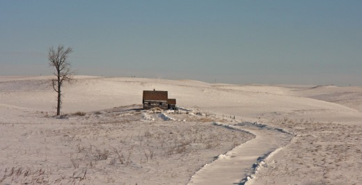 A lone cabin in Minot, ND.