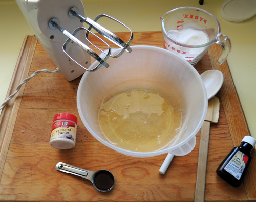 mise en place for meringue prep. NOTE: meringue takes approximately 7-9 minutes to beat to stiffness.