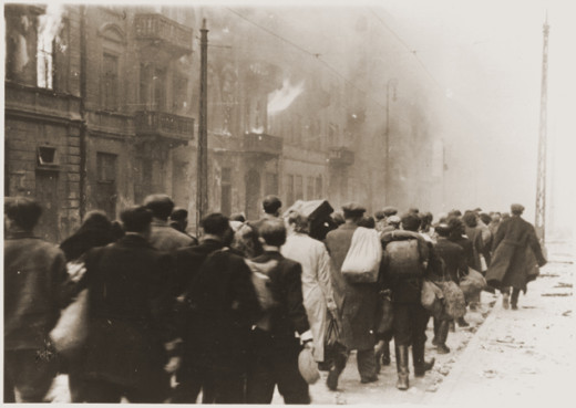 Captured Jews during the Warsaw Ghetto Uprising, that were captured and being taken to be deported.