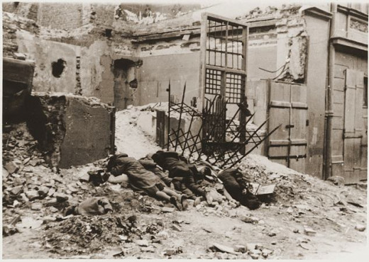 "The original caption read ""Bandits destroyed in Battle.""  They were Jews executed on the spot after being captured."