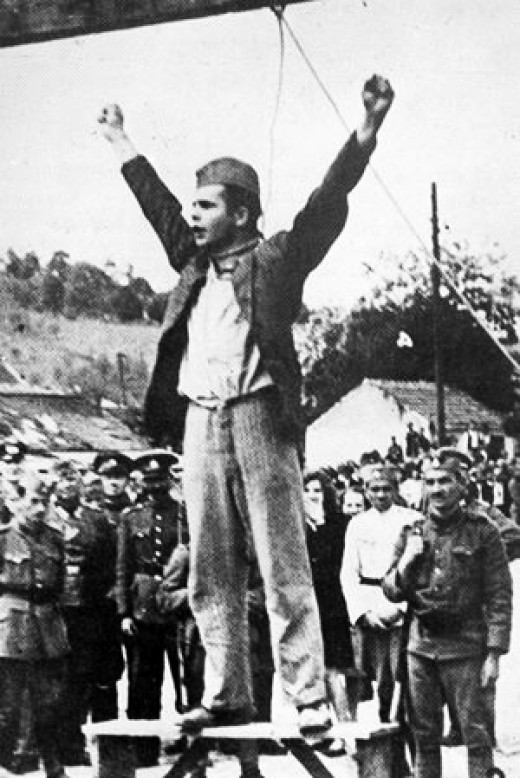 """Stjepan Filipovic, was commander of the Tomnasko-Kolubarski partisan detachment.  He is encouraging the people of Serbia to fight the """"traitors of the Serbian people"""".  He is about to be hung."""