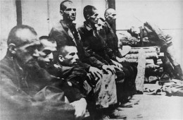 Taken in 1942, Serbian prisoners in Jasenovac.