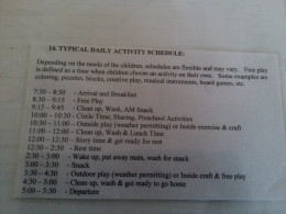 An example of a daily schedule.