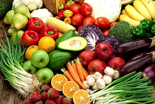 Most fruits and vegetables and rich in potassium