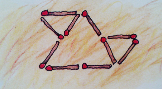 3 TRIANGLES ON REMOVING 3 MATCHSTICKS from original arrangement