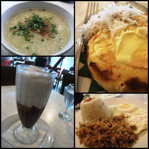 Clockwise  from left: Arroz Caldo (rice porridge), Cheese Bibingka (rice cake), Adobo flakes with rice, and Guinomis.