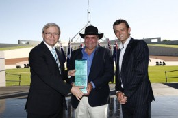 Professor Mick Dodson receiving his Australian of the Year Award
